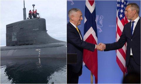 ANLØP: USAs forsvarsminister James Mattis (til venstre) møter sin norske kollega Frank Bakke-Jensen sommeren 2018. I fjor høst viste den amerikanske ubåten USS Seawolf seg utenfor Kvaløya.