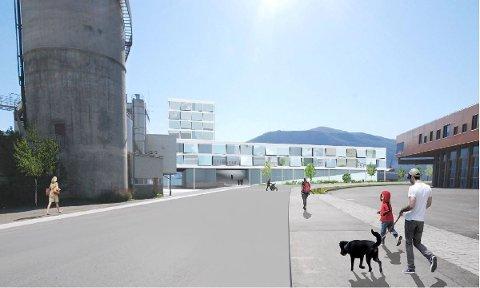 SSID EOM SIDE: I den nye planen for Kullkransvingen skal industri og ny næring fungere side om side. På illustrasjonen sees siloen til venstre, og ny bebyggelse til høyre.