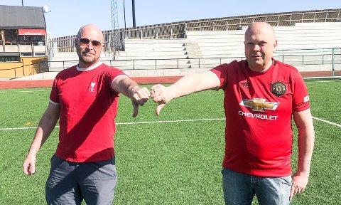 NEI TIL SUPERLIGA: Supporterne til Liverpool og Manchester United er for en gangs skyld enige, verken Tommy Hansen (t.v.) eller Raymond Løken ønsker en ny superliga velkommen.