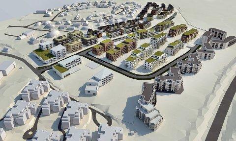 Bonava vil starte med å bygge butikk og 31 leiligheter nord på feltet. Foto: Bonava
