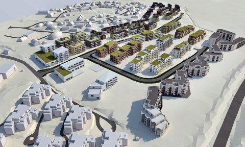 Bonava vil bygge butikk og 31 leiligheter nord på feltet. Totalt skal de bygge 400 boliger på tomten. Foto: Bonava