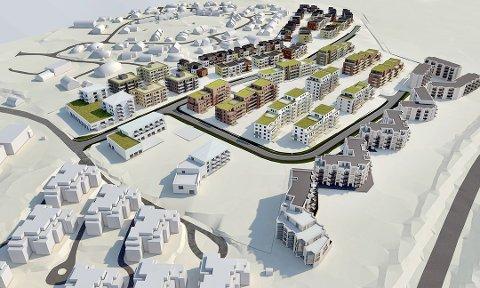 TRINN 1: Bonava vil starte med å bygge butikk og 31 leiligheter nord på feltet. Illustrasjon: Bonava