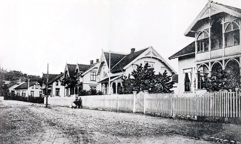 PARKVEIEN med villaer fra den seneste sveitserstilperioden. Foto fra omkring 1908.