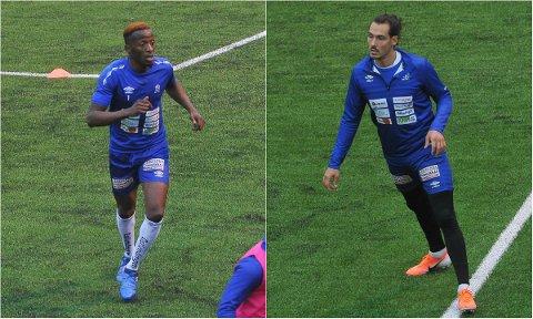 DUO I FORM: Abdeen Temitope Abdul (til venstre) og Fabrizio Cardaccio Tambucho scoret henholdsvis to og ett mål da Raufoss 2 ble slått 3-0 mandag kveld.
