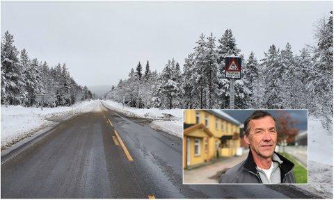 SALTING: Det er enkelt å se hvor skillet mellom salting og ikke salting går på Trysilvegen. Tor Backe (bildet) har meldt sin bekymring til Statens vegvesen.