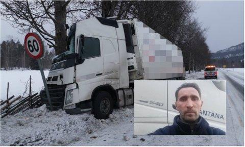 REDDET TROLIG LIV: Trailersjåføren Egidijus fra Litauen valgte å svinge sin semitrailer av riskveg 3 da personbilen kom over i motsatt kjørefelt. Det reddet trolig livet til en trønder i 40-årene.