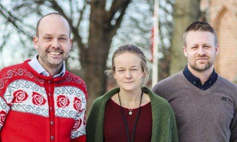 Ordfører Sindre Martinsen-Evje (Ap)  i Sarpsborg opplever at han lærer mye av arbeidet til Hanne Cecilie Høgmo og Espen Flagstad på byggesak. De tre er enige om at arbeidet gir resultater.
