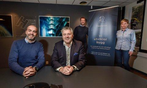 Eiendomsselskapet Ranheim har vokst etter at de kjøpte FDV Service. Dette bildet er tatt i 2017, i forbindelse med at Haaland eiendom og Meyer As slo seg sammen, og dannet eiendomsselskapet Ranheim. Carsten Rimer (f.v) Espen Haaland, Morten Hagh og Elin Nilsen.
