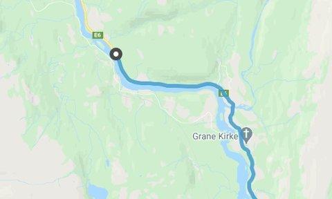 Ulykkesstedet ligger ca fem kilometer nord for Grane kirke.