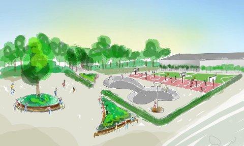 Slik kan det bli i Schjongslunden idrettspark. Denne mulighetsstudien er laget av konsulenter i Rambøll.  (Illustrasjon: Rambøll)