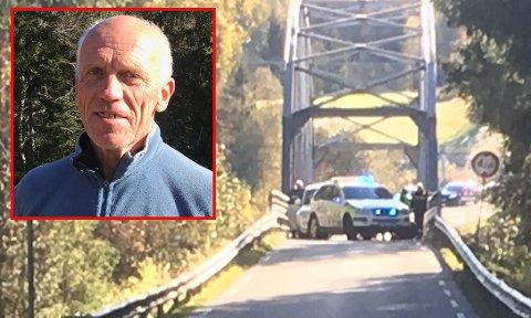 POLITIJAKT: Helikopter, flere politipatruljer og spikermatter måtte til for å stanse mannen som hadde stukket av med bilen til Roger Hybertsen.