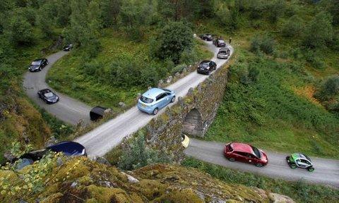 FLERE: Elbilene er et stadig vanligere syn på norske veier. Her fra elbilfestival i Geiranger.