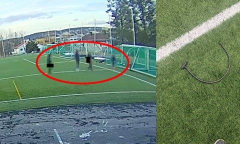 FANGET PÅ VIDEO: Dette bildet har Lørenskog IF delt på sin Facebook-side etter at fjernet låsen rundt klubbens fotballmål i helgen.