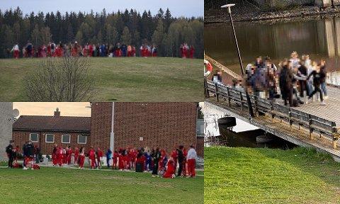 REAGERER: Flere forbipasserende reagerte på at mange ungdommer var samlet søndag kveld. Disse bildene er tatt på Jessheim og i Lillestrøm.