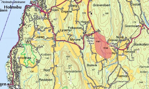 FARESONER: I Værby og Værby-Kana er det registrert to faresoner for ras og skred. Det stiplede feltet i rødt og lyserødt indikerer risikoklasse 2: den nest laveste risikoklassen.