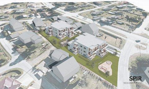 FRA LUFTA: Slik framstår de to planlagte punkthusene mot omgivelsene nederst i Mossserødveien. (Illustrasjon: Spir arkitekter AS)