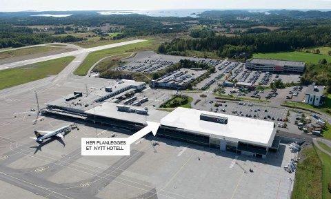 PÅ TAKET: Det er taket på terminalbygget på Torp som muligens blir hotell.