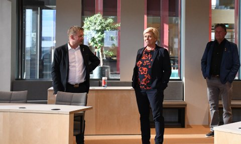 Pål Morten Borgli og Siv Jensen under Jenses besøk i Sandnes i høst.
