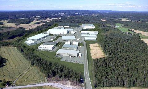 GIGANTFELT: Holtskogen næringspark kan gi 2.000 arbeidsplasser når det er ferdig utbygd. Arkiv/illustrasjon: Holtskogen Utvikling as