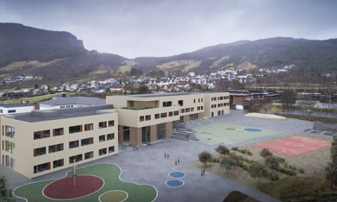 IS VED SKOLE: På uteområdet til nye Fjelltun skole har det vært aktuelt med kunstis om vinteren. (Illustrasjon: Arkipartner)