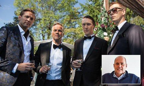 """VIRKELIGHET ELLER FIKSJON?: Henrik (Tobias Santelmann), Jeppe (Jon Øigarden), Adam (Simon Berger) og William (Pål Sverre Hagen) er fire menn i finansbransjen som trår langt over moralske grenser i jakt etter spenning i NRK-serien """"Exit"""", som baserer seg på virkelige hendelser. Leder av Mestringshusene på Bolkesjø, Olaf Olsvik (innfelt), har vært del av samme miljø."""
