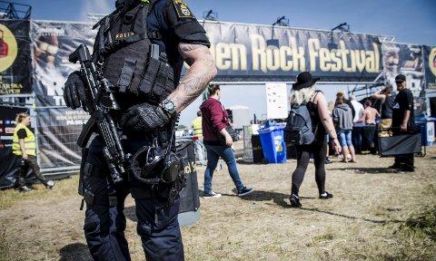 Da Sweden Rock-festivalen gikk av stabelen i juni 2017, bare to måneder etter terrorangrepet med lastebil i Stockholm, var politiet på plass. Foto: Fredrik Sandberg / TT / NTB scanpix