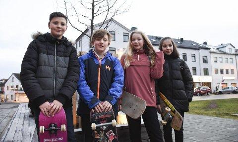 Skatere: Robert Nacu (fra venstre), Natan Rybakowski, Lena Barbara Bomba og Yasmina Dagaeva bruker vinterferien til skating, gaming og å bare henge med hverandre.