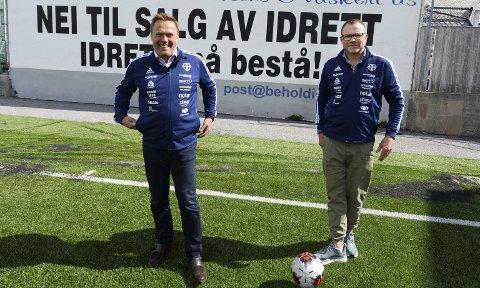 Klubbledere: CFK-leder John Marius Dybvik (til venstre) og KFK-leder Erik Pettersen er krystallklar på at det vil være feil å selge Idrett for å finansiere nye Atlanten stadion. Samtidig kan de fortelle at det er startet en prosess hvor målet er å slå sammen de to klubbene.