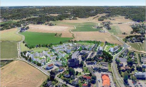 BYDEL: Slik illustreres området Borheim Syd fra luften. 340 boliger, næringsvirksomhet og parkeringsplasser fordeler seg på 80 mål bruksareal. Illustrasjon: Blom arkitekter
