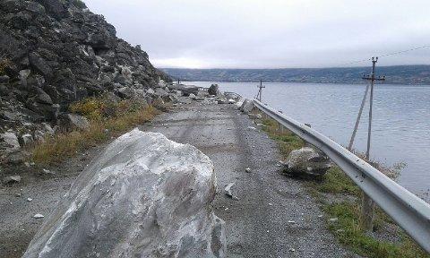 STEINRAS: Det er til dels store steinblokkar som har rast ned på fv. 293 i Vang. Foto: Statens vegvesen