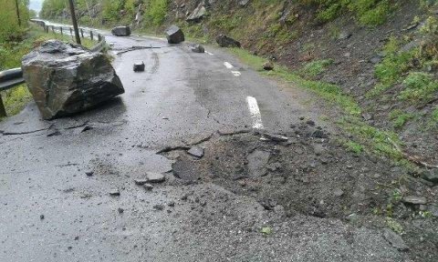 Stengt: Fv. 2510 ved Leirhol blir stengt til geologer har sett på området, mest sannsynlig tirsdag.