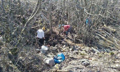 RYDDET: Medlemmer av Nittedal Elveforum ryddet i Tøyenbekken