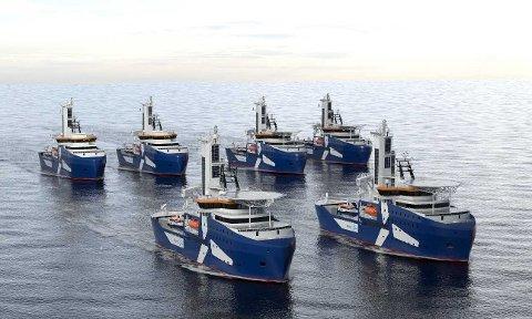 STORKONTRAKT: Awinds to servicefartøyer for offshore-vindparker skal bygges i Kina, men får både design og mye utstyr fra Kongsberg Maritime.