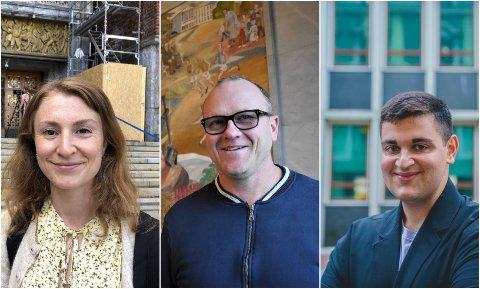 JUBLER: Sunniva Holmås Eidsvoll (Sv), Frode Jacobsen (Ap) og Rauand Ismail (MDG) jubler for at Raymond Johansen fortsetter som byrådsleder.