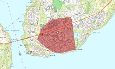 Det er Knarvik som er råka av straumbrotet, måndag morgon.