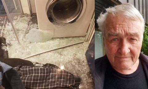 Glassdøren til Bjørn Hellebø (76) knuste mens han var på ferie.