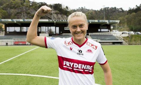 Skal vise muskler: Maria Dybwad Brochman er klar for en krigekamp mot Rosenborg. – Når vi møter dem er vi enda mer keen på å knuse til. Det er vi som er på hjemmebane, det er vi som skal styre kampen, sier hun. ARKIVFOTO: BERNT-ERIK HAALAND
