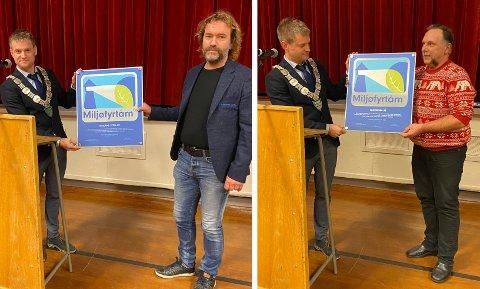 HAR FORPLIKTA SEG: Eikeland Stein og Taxi Vikeså er nå sertifisert som miljøfyrtårn og har dermed forplikta seg til å driva verksemdene sine på ein miljømessig forsvarleg måte. Tysdag fekk Hans Petter Særheim (t.v.) og Kjell Arne Halvorsen utdelt miljøfyrtårn-skilta av bjerkreimordførar Kjetil Slettebø. I dag, torsdag, mottok Halvorsen den gode nyheita om at Taxi Vikeså er tildelt kontrakt med Pasientreiser for to nye år, med opsjon på eitt pluss eitt år til.