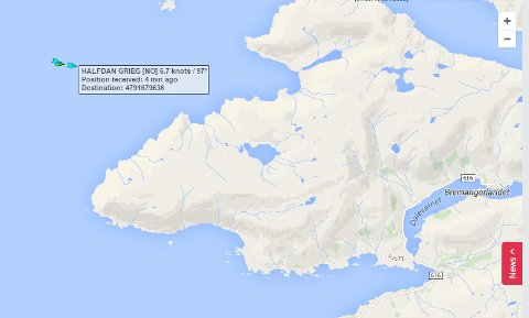 Her ser vi at redningsskøyta Halfdan Grieg kom på plass vest for Vetvika i Bremanger.