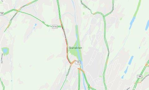 KØ PÅ RV 110: Skjermdump fra Google Maps klokka 08:51