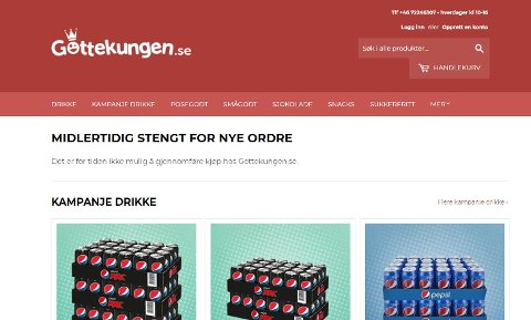 – MIDLERTIDIG STENGT: Slik blir kundene møtt på Gottekungens nettside i dag, onsdag.
