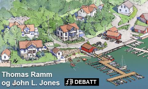 Ramm og Jones beskriver at deres plan gir en ny og forbedret offentlig kai og kaifront, ny offentlig flytebrygge, ny offentlig badestrand og nytt offentlig uteareal med mulighet for sosialt samvær foran en planlagt ny sommerkiosk.
