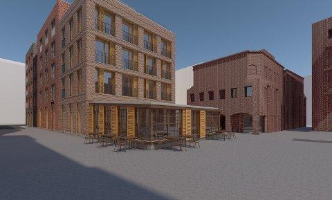 PERMANENT UTVIDELSE: Slik ser arkitektene for seg at tilbygget til Køl vil se ut fra sørvest. Sier kommunen ja, kan Køl utvide serveringsarealet sitt på permanent basis.