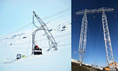 Før og nå: I begynnelsen av 2019 ble masten til venstre tatt av et snøskred. Nå er en midlertidig mast på plass, og planen er å få en ny og mer robust opp før neste vinter.