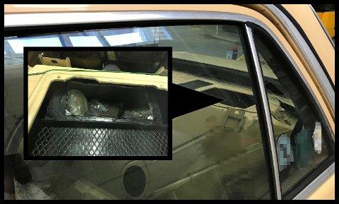 GODT GJEMT: I et spesiallaget rom over bilens drivstofftank fant tollerne flere pakker med narkotika. Det ble brukt narkotikahund og skanner i jakten på stoffet.