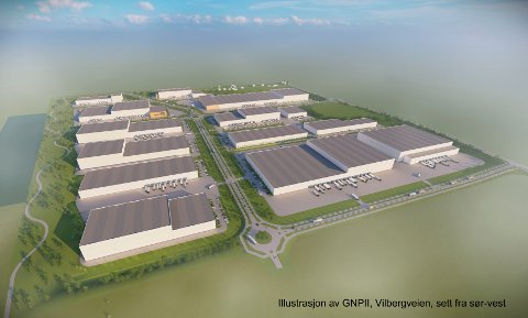 Nordre del av Gardermoen Næringspark vil gi rom for mange lager på størrelse med Coop-lageret.