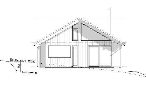 Problemet med hytta paret opprinnelig ønsket å bygge er vinduene, som er for store. Trekantet form er heller ikke i tråd med kravene. Illustrasjonen er hentet fra byggesøknaden.