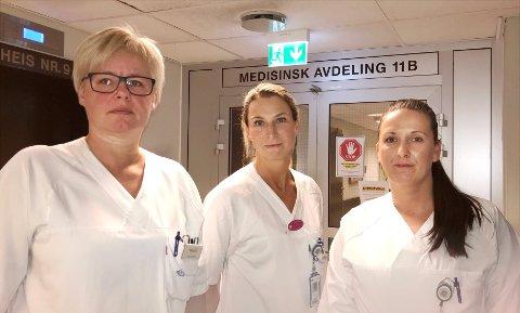 STERK ADVARSEL: Heidi Ruud (fra venstre), Åse Iren Moen, Monica Myrvang og ansatte ved medisinsk avdeling advarer på det sterkeste mot å flytte lungepasienter fra Granheim inn på en akuttavdeling.