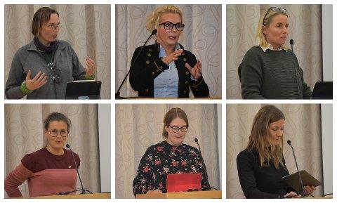 PÅ TALERSTOLEN: Disse seks kvinnene inntok talerstolen under kommunestyrmøtet. Øverste rekke fra venstre: Karina Elise Ødegård (MDG), Line Biagio Solvang (H) og Line Jorung (H). Nederste rekke fra venstre: Victoria Gaarder (Rødt), Mari Svenbalrud (SV) og Hanne Gabrielsen (Ap).