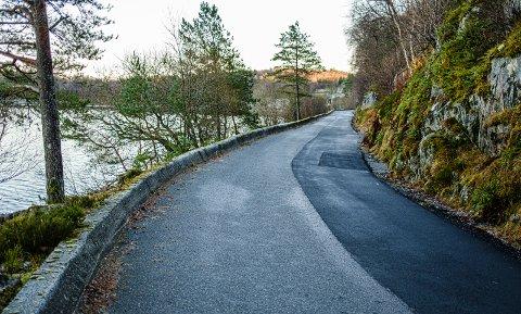 Den nylagte asfalten marker hvor grøfta var Krabbatveitvegen ved Fuglavatnet i november 2019.